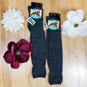 Gray Knit Over The Knee Plush Socks (2 Pairs)